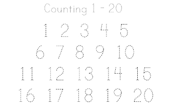 Counting 1 - 20 Printing Practice Worksheet