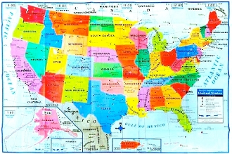 "USA Wall Map (40""x28"") color, highly detailed"
