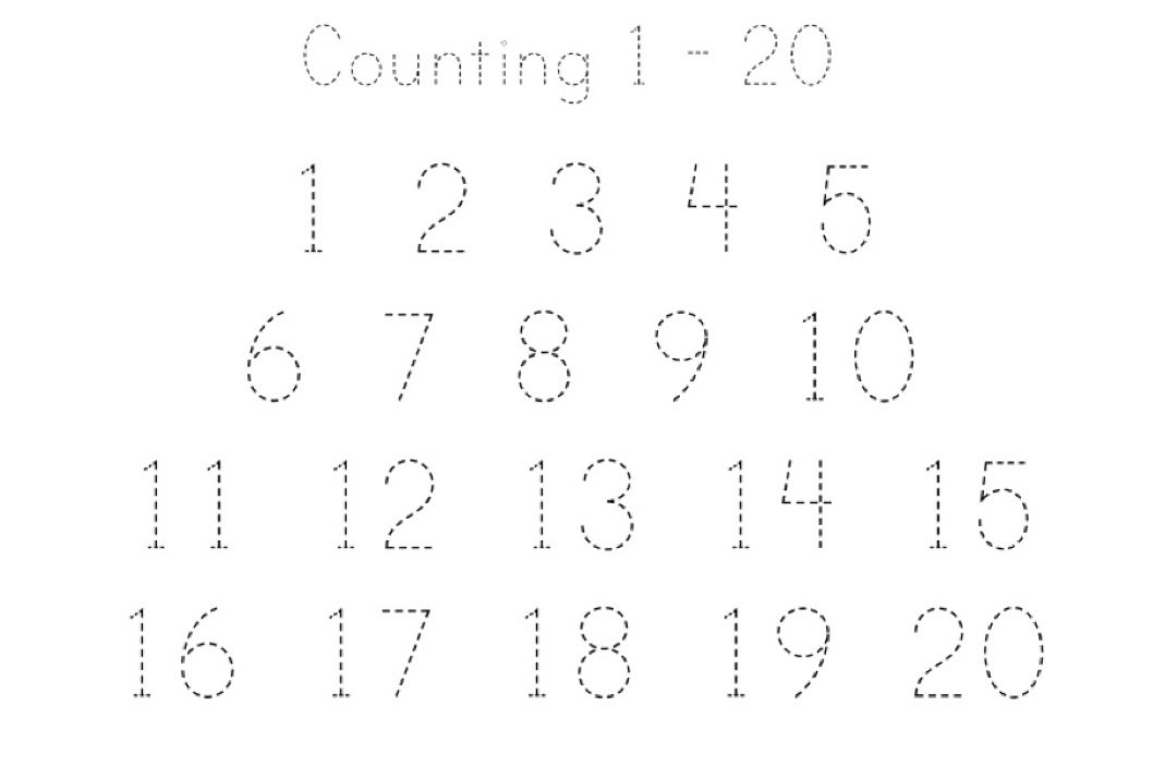Counting 1 20 Printing Practice Worksheet – Counting 1-20 Worksheets