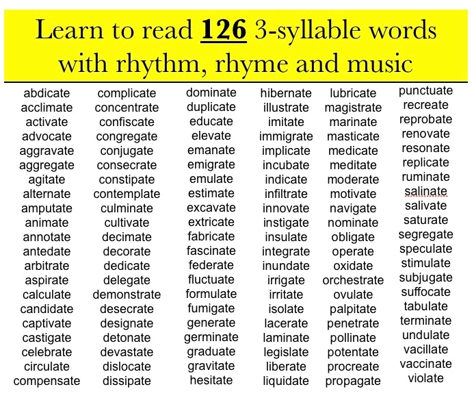 Worksheets Rhyme Words reading with rhythm and rhyme 3 syllable words ending in ate click on word list below to start the preview movie