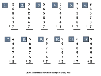 Column Addition Practice Movie Download - 12 Drills with Music