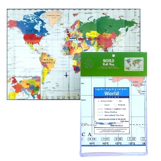 "World Map (28""x40"") highly detailed, color poster"